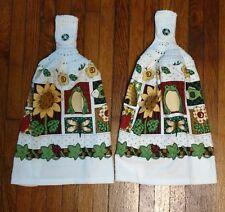 FROGS, BUTTERFLIES & SUNFLOWERS KITCHEN TOWELS SET OF 2 WHITE CROCHET TOP