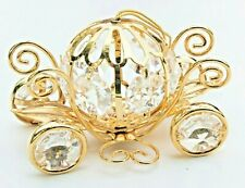 Shiny gold-tone Pumpkin Coach Carriage with Moving Wheels & Crystals Ornament