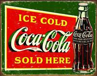 """Ice Cold Sold Here Green Weathered Coca Cola Tin Sign 16"""" x 12.5"""""""