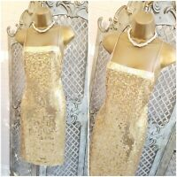 NEXT UK 8 Y2K 90s Gold Square Sequin Flapper Gatsby 20s 30s Pencil Dress