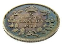 1914 Rainbow Toning Canada Five Cents Small Silver Canadian Circulated Coin M857