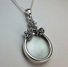 """Antique Style Rose Magnifying Glass Pendant (5X)  Sterling Silver 24"""" .925 Chain"""