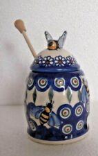 Hand Painted * Ceramic  Honey Pot with Wooden Dipper *  Boleslawiec Pottery