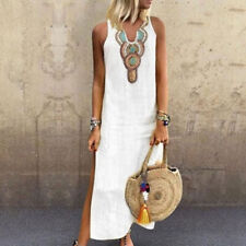 Women's Boho Sleeveless V-Neck Split Long Maxi Dress Kaftan Sundress Plus Size