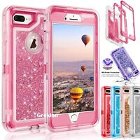 For iPhone 6 6S 7 8 Plus Hybrid Liquid Glitter Shockproof Protective Case Cover