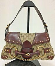 Authentic Gucci gg canvas leather  horse bit chain brown clutch shoulder bag