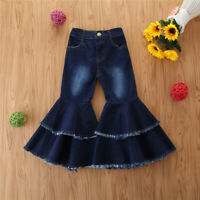 Children Toddler Kids Baby Girls Casual Ruffle Denim Clothes Fashion Jeans Pants