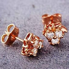 Fashion Jewelry Rose Gold Filled Womens Flower New Crystal Stud Earrings