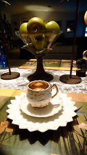 Tea cup, saucer, and small plate petal motif with gold trim no makers mark