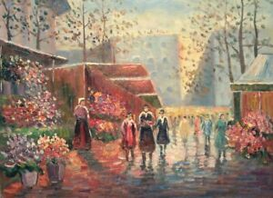 """16""""x 12"""" Oil Painting on Canvas, The Flower Market, Genuine Hand Painted"""