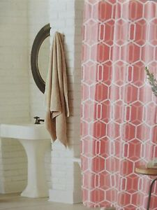 """Threshold Coral Geo Fabric Shower Curtain 72"""" x 72"""" NIP"""