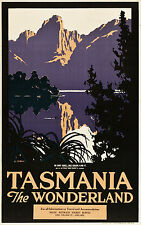 "Vintage Travel poster  Australia Tasmania Trees  Print for glass frame 36"""
