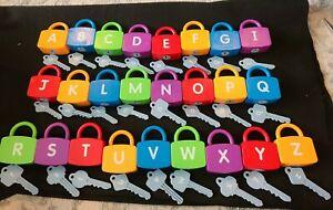 LAKESHORE EDUCATIONAL PRODUCT ALPHABET LEARNING LOCKS SET A-Z missing H
