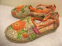 Lelli Kelly Girls Shoes Size 34 US 3 Ankle Tie Flowers Sequin Orange Tan Green