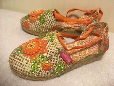 Lelli Kelly Girls Shoes Size 34 US 3 Ankle Tie Flowers Sequin Orange Tan Green