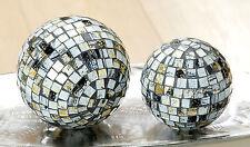 Set Deko Kugel Glas Mosaik Gilde Handwerk gold schwarz weiß 10 cm 13 cm