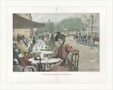 Spring Day on the boulevards Barrau Carriages Cafe Coloured Wood engraving c 1578