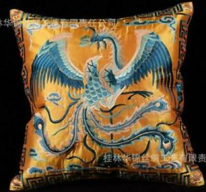 """Chinese Handmade Silk Decorative Embroidery """"Phoenix"""" Pillow Cushion Cover New"""