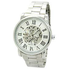 Winner Skeleton Mechanical Silver Stainless Steel Watch hand-winding Fashion Men