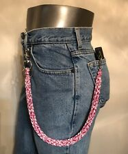 RED, PINK AND WHITE 3 PIN WEAVE 550 USA MADE PARACORD BIKER WALLET CHAIN 1%