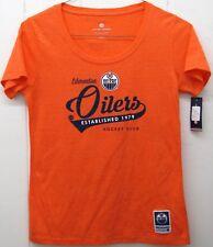 Edmonton Oilers Women's Daily T-Shirt Shirt NHL Hockey Club Orange M Medium New