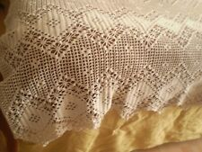 Vintage Handmade Cotton Crochet Coverlet bedspread   ECRU COLOR