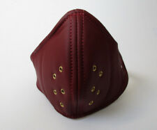 Real Leather Red Retro Face Mask Hand Made for Open Face Motorcycle Helmet