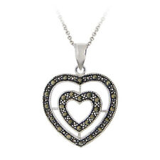 925 Sterling Silver Marcasite Double Heart Pendant