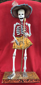 Mexican Folk Art Day Of The Dead Papier Mache Large Skeleton Jazz Singer