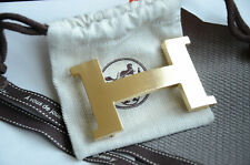 HERMÈS 42MM Belt Buckle GOLD BRUSHED H with Pouch