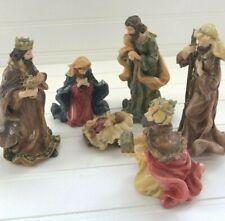 Vintage Nativity Set of 6 Porcelain Pieces Christmas Figurines Shiny Glaze