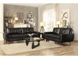 Deryn 2PCs Classic Mid-Century Black Fabric Sofa Loveseat Set