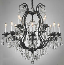 WROUGHT IRON CRYSTAL CHANDELIER LIGHTING CHANDELIERS W28