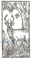 Deer Buck Rectangle Tree Wood Mounted Rubber Stamp Northwoods Rubber Stamp New