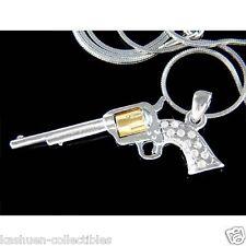 w Swarovski Crystal ~Long Barrel Revolver Colt Gun Pistol Pendant Chain Necklace
