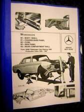 Mercedes WORKSHOP MANUAL 108 -113 BODYWORK REPAIR '59-73 Base Panel FRAME CHARTS