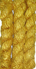 1 Quality Golden Color Recycled Soft Silk Sari Knit Woven Crochet Yarn FREE SHIP