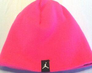 New Nike Jordan reversible girls winter beanie hat size sz 7 - 16 Pink Black