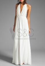Elegant Backless Flower Long Beach Dress