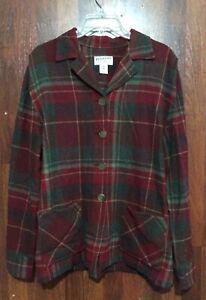 VTG 90s M Pendleton Originals Red Brown Plaid Car Coat Jacket 100% Wool