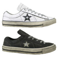 Converse Une Star Bœuf Damen Baskets Chaussures de Sport Distressed Leather Neuf