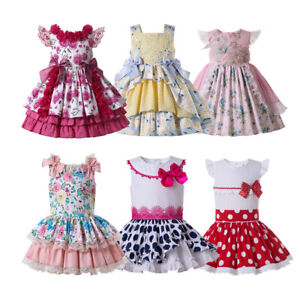 Girls Polka Dot Dress Traditional Princess Birthday Party Romany Outfit Age 2-12