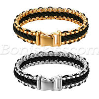 Men Genuine Leather Braided Stainless Steel Chain Bracelet Bangle Cuff Wristband
