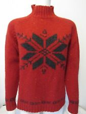 Eddie Bauer Red Fair Isle Nordic Ski Raglan Slv. Sweater 100% Wool Petite M $135