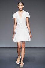 CALVIN KLEIN COLLECTION White Short Cap-Sleeve 2010 RUNWAY Drop-Waist Dress M