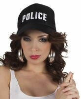 Adults Black Adjustable Police Cap Hat Cop Fancy Dress Accessory Mens Womens