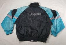 Champion Full Zip Black Teal Silver SPELL OUT Windbreaker Jacket LARGE VTG 90s