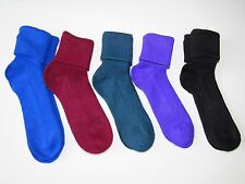 5 x pairs of ladies plain 2 in 1 roll over socks or ankle high, shoe size 4-7