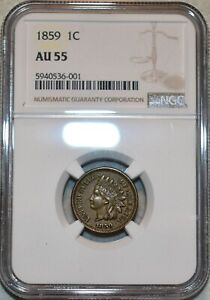 NGC AU-55 1859 Indian Head Cent, Sharp specimen.