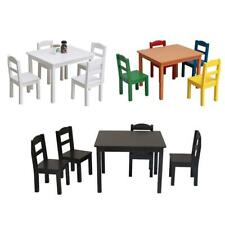 5 Piece Kids Set Glass Wood Table 4 Chairs Kitchen Dining Room Furniture 4 Color